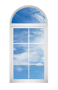 View of blue sky through window on white background